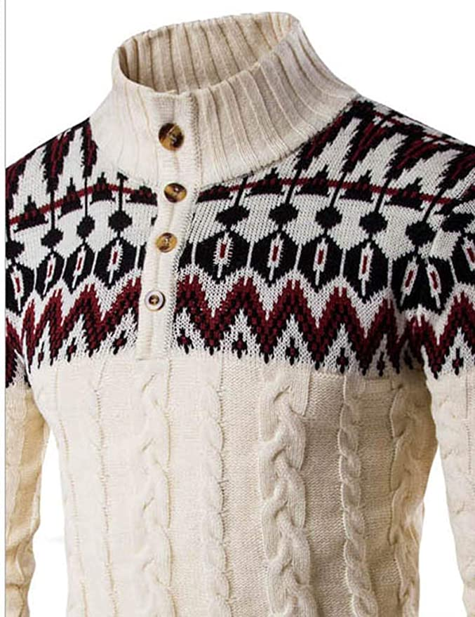 Hurrg Men Warm Stand Collar Winter Chevron Knit Zip-Up Sweater Cardigan with Pockets