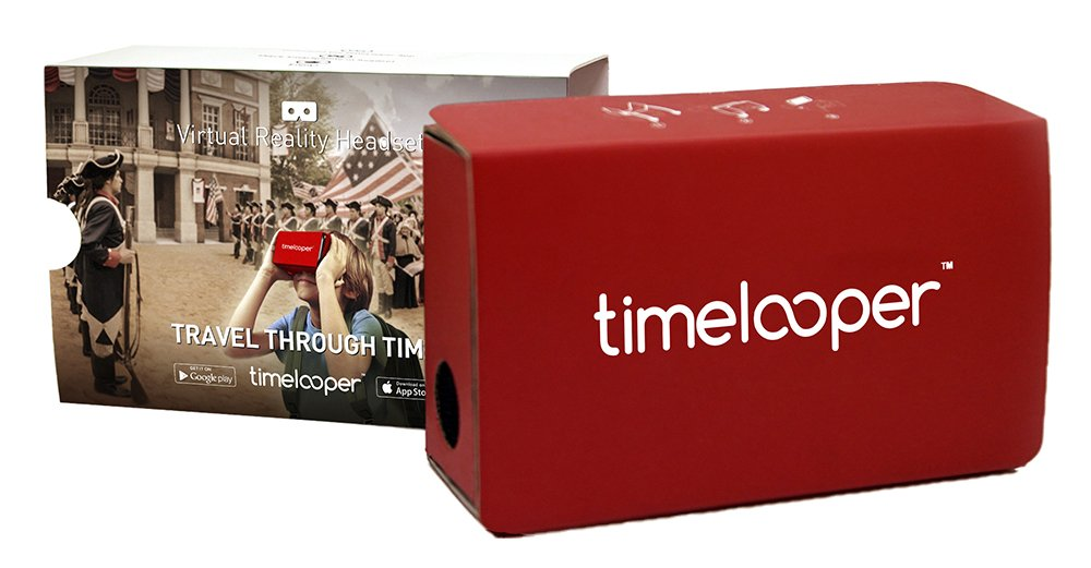 TimeLooper Starter Package with over 50+ Historical and Educational VR 360 Videos and Google-Style Virtual Reality Cardboard Headset for Apple & Android