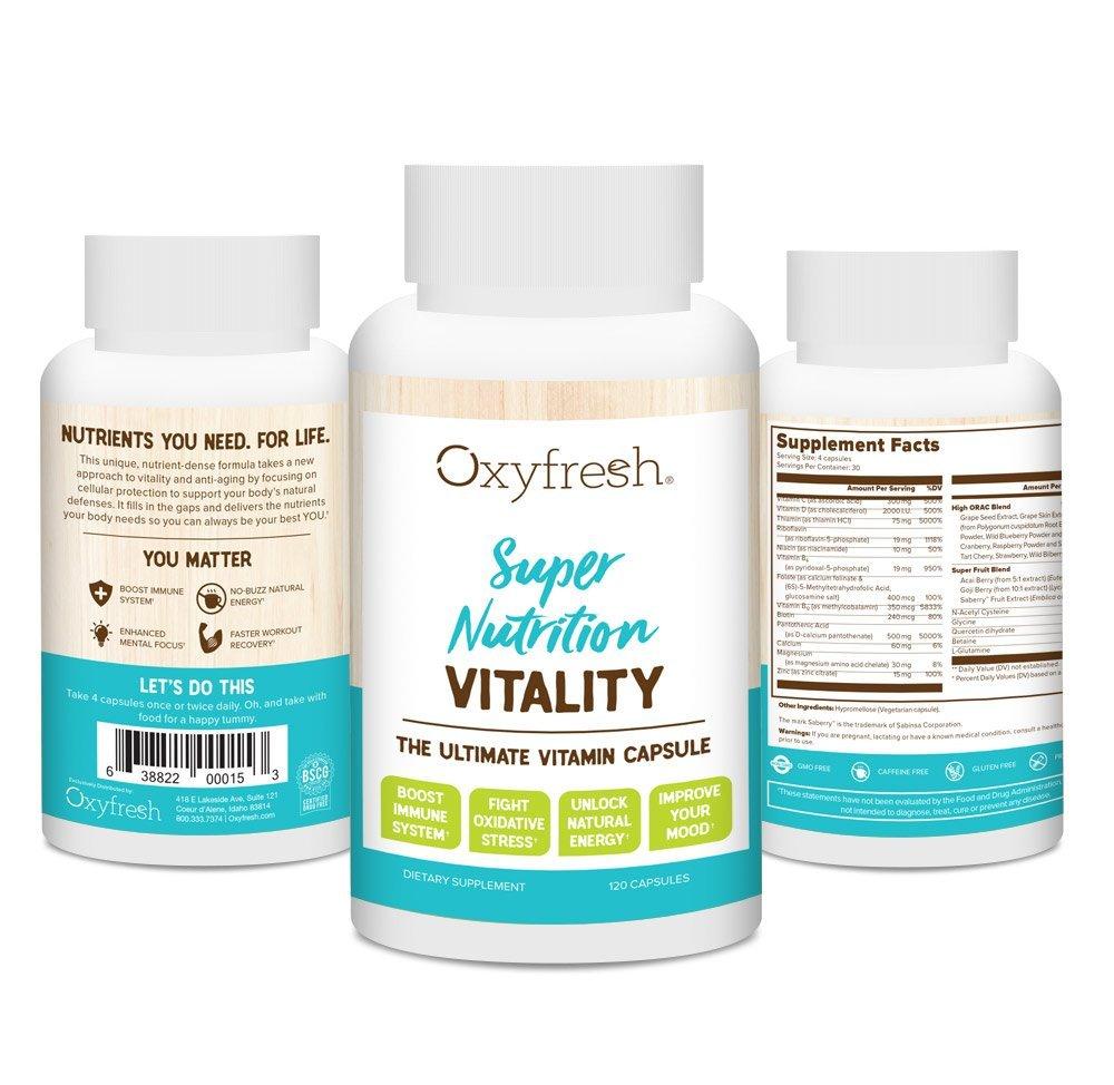 Vitamin D & B Supplement - Ultimate Vitamin - Boost Immune System - Revitalize Mood - Fight Oxidative Stress - Unlock Natural Energy - 120 Capsules - Oxyfresh Vitality