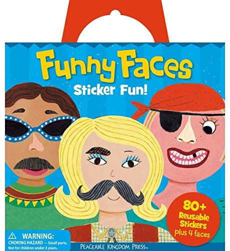 Peaceable Kingdom Sticker Fun! Funny Faces Reusable Sticker Tote