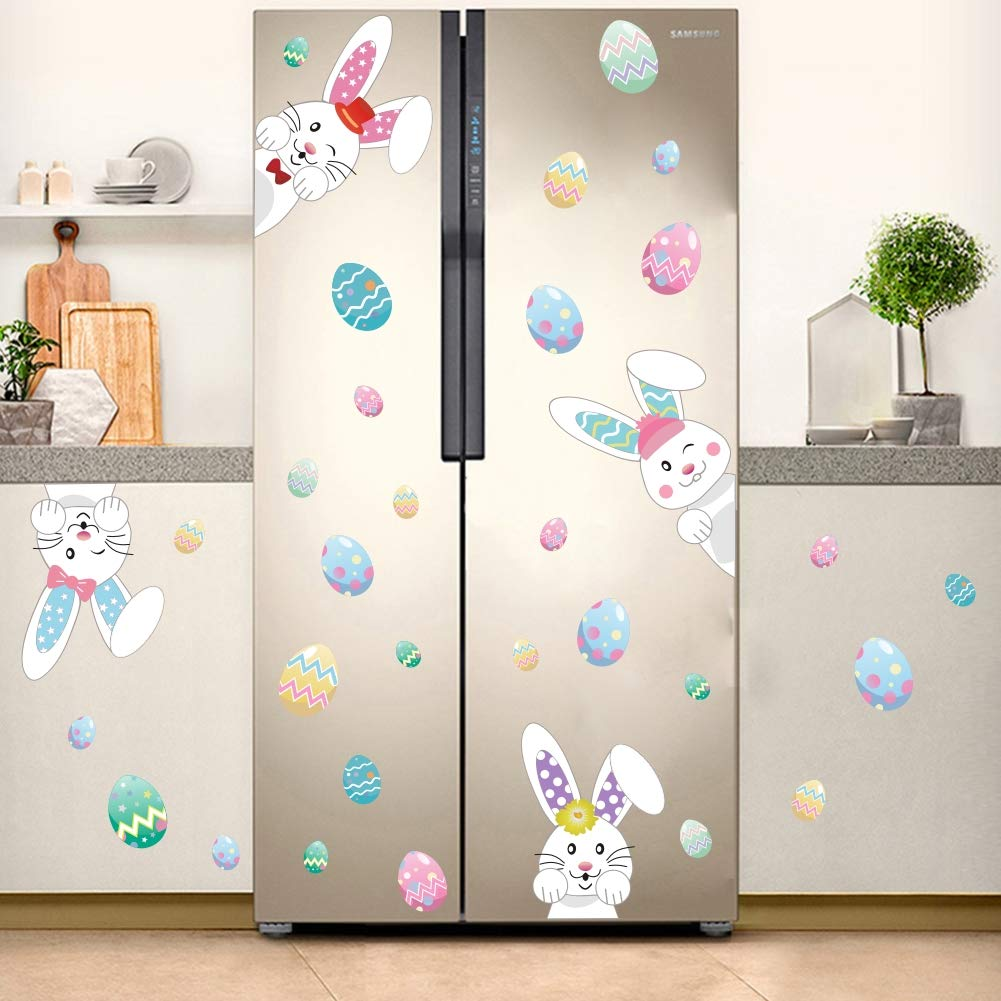 Cartoon Easter Bunnies Wall Decals Easter Eggs Wall Stickers, Lovely Easter Sticker Baby Room Decoration, Fridge Window Cling Decals Easter Home Decor(33 pcs)