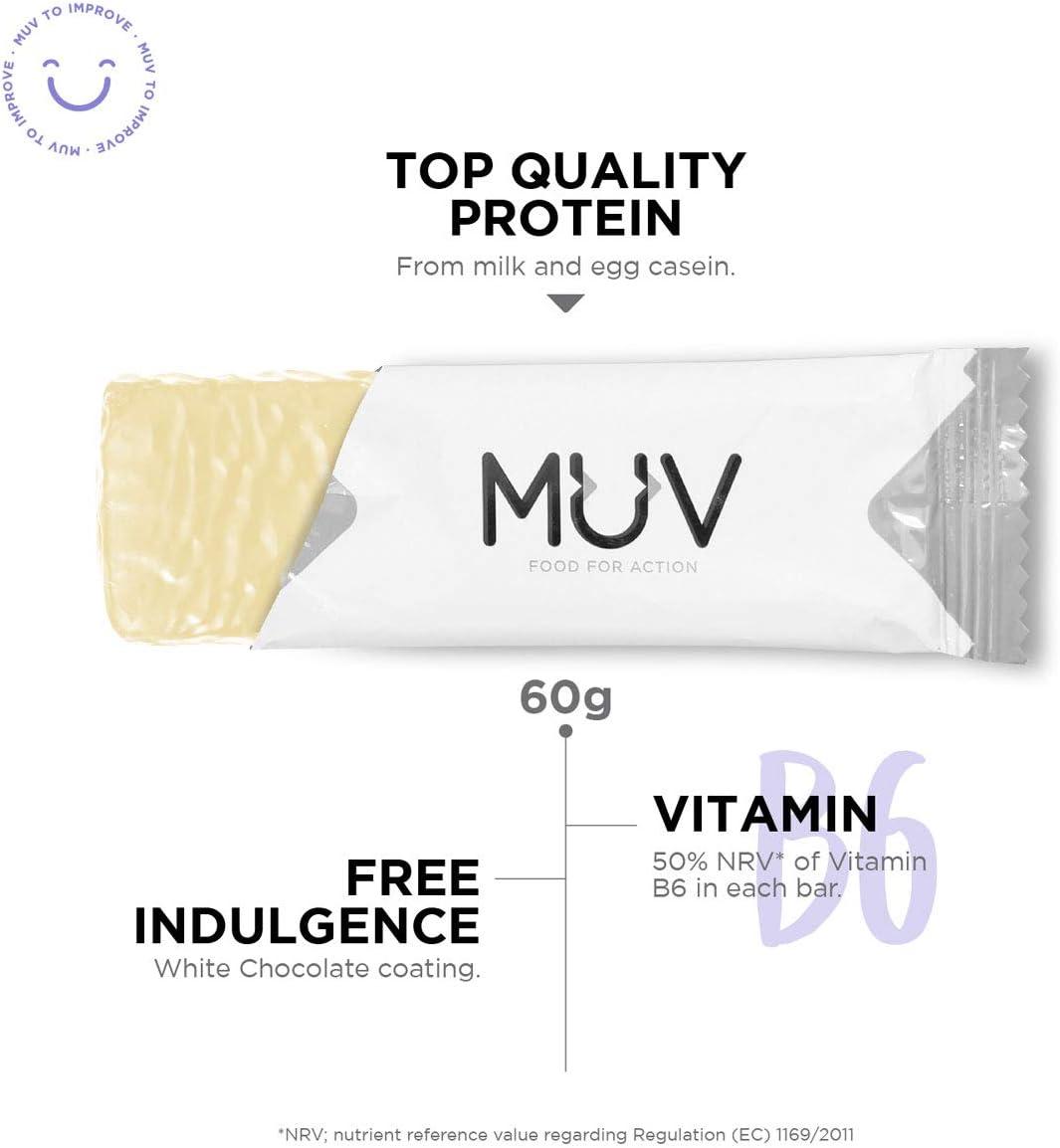 Muv Food For Action - Barras de proteína sabor stracciatella, 12 unidades de 60 g