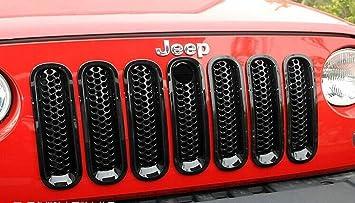 7 Pieces//Set KaTur Black Front Mesh Grille Insert Kit for 2007-2015 Jeep Wrangler JK