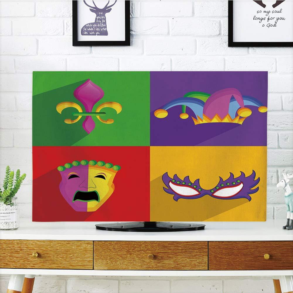 LCD TV ダストカバー マルディグラ 古代フルールドリス 伝統的なフェスティバル柄 ベネチアンヴィンテージ装飾、パープルグリーンイエロー、3Dプリントデザイン 32インチテレビ対応 TV 50