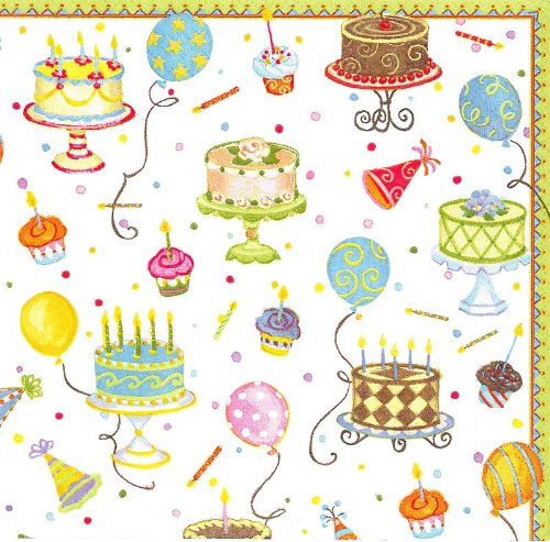 Entertaining with Caspari Luncheon Napkin, Multicolor, Birthday Cakes, 20-Pack