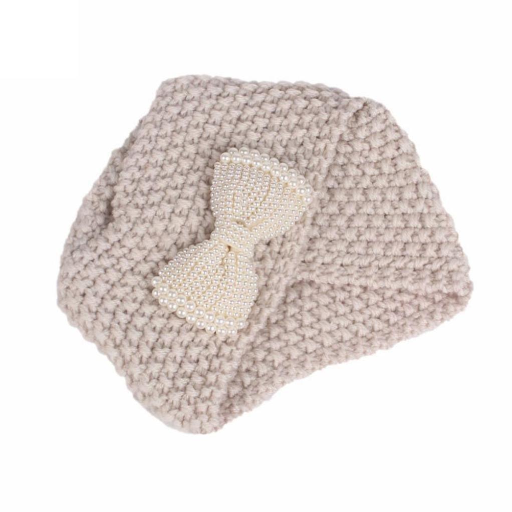 Smileq bébé Casquette enfant bébé fille Tricot Bonnet Turban Head Wrap Poil Chapeau beige
