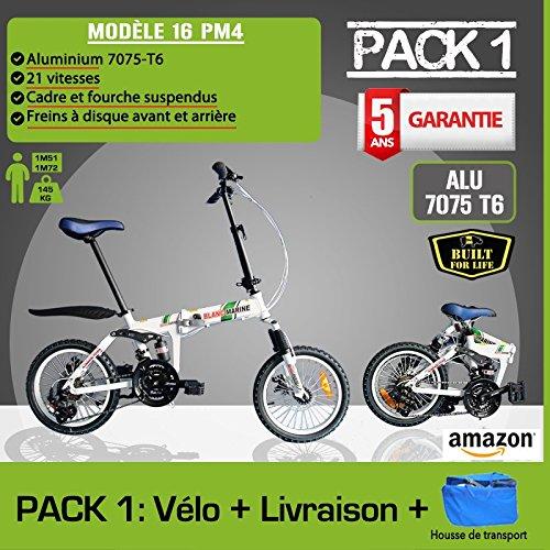 Bicicleta plegable blanco marino modelo 16pm4, 21 velocidades - Pack 1 (con funda): Amazon.es: Deportes y aire libre