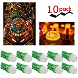 PA 10PCS T10 w5w 2 SMD 2835 LED Wedge Pinball Machine Light Top View Bulb 6.3VDC (Green)