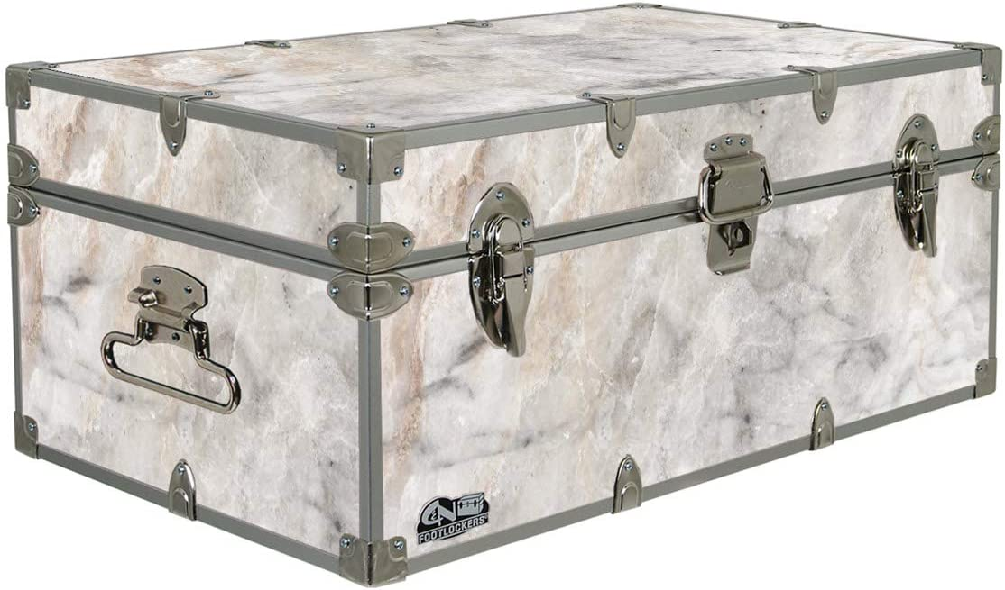 C&N Footlockers Designer Storage Trunks - Nature Themes - 32 x 18 x 13.5 Inches - Durable and Built to Last - Lockable (Marble)