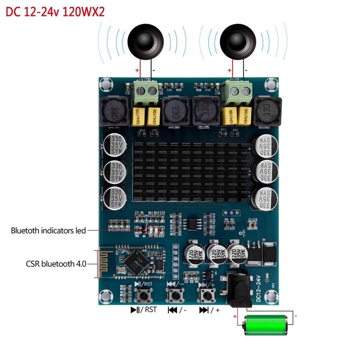 BlackPJenny XH-M548 Wireless Bluetooth 4.0 Dual Channel 120W 120W TPA3116D2 Amplificatore di Potenza Digitale Consiglio Scheda Audio Amplificatore