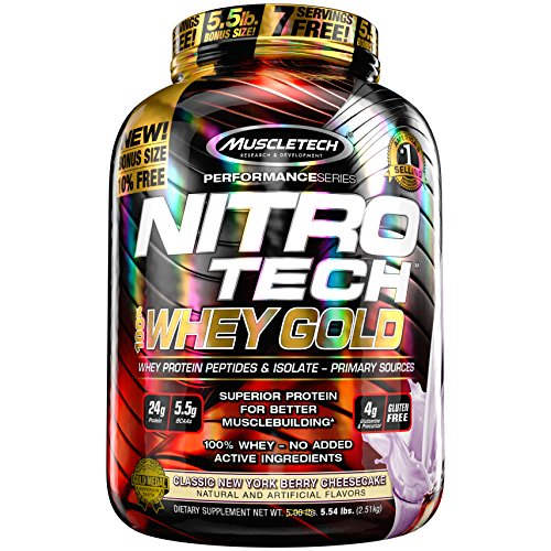 MuscleTech NitroTech Whey Gold, 100% Whey Protein Powder, Whey Isolate and Whey Peptides, New York Berry Cheesecake, 5.5 Pound (Berry Whey)