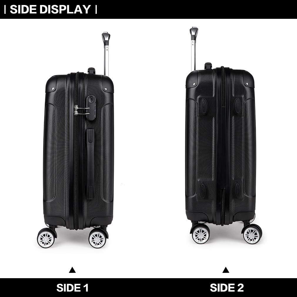 56cm-40L Negro, S Kono Equipajes de Viaje Esquinas protegidas 4 Ruedas de Rotaci/ón de 360 /° Maletas