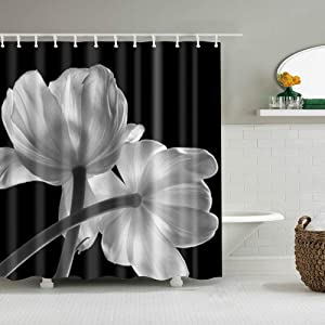 Boyouth White Tulip Pattern Digital Print Black Shower Curtains for Bathroom Decor,Polyester Waterproof Fabric Bath Curtain with 12 Hooks,70x70 Inches,Multicolor