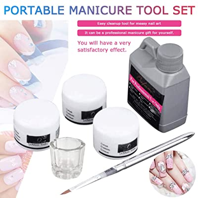 Portable Nail Art Tool Kit,Crystal Powder Acrylic Liquid Dish 120mL Starter Kit Nail Art Decoration Tools: Grocery & Gourmet Food