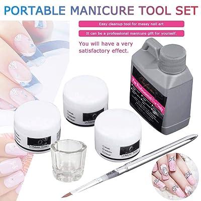 Portable Nail Art Tool Kit,Crystal Powder Acrylic Liquid Dish 120mL Starter Kit Nail Art Decoration Tools: Grocery & Gourmet Food