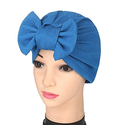 1964b30237b Bolley Joss Casual Bowknot Beanie Beautiful Hijab Stretchy Cotton Headwear  Hat for Women and Girls (