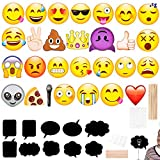 Emoji Photo Booth Props 27pcs + Black Paper Message Chalkboard 10pcs For All Kinds of Party, Big Size As Face Mask, Assorted Patterns