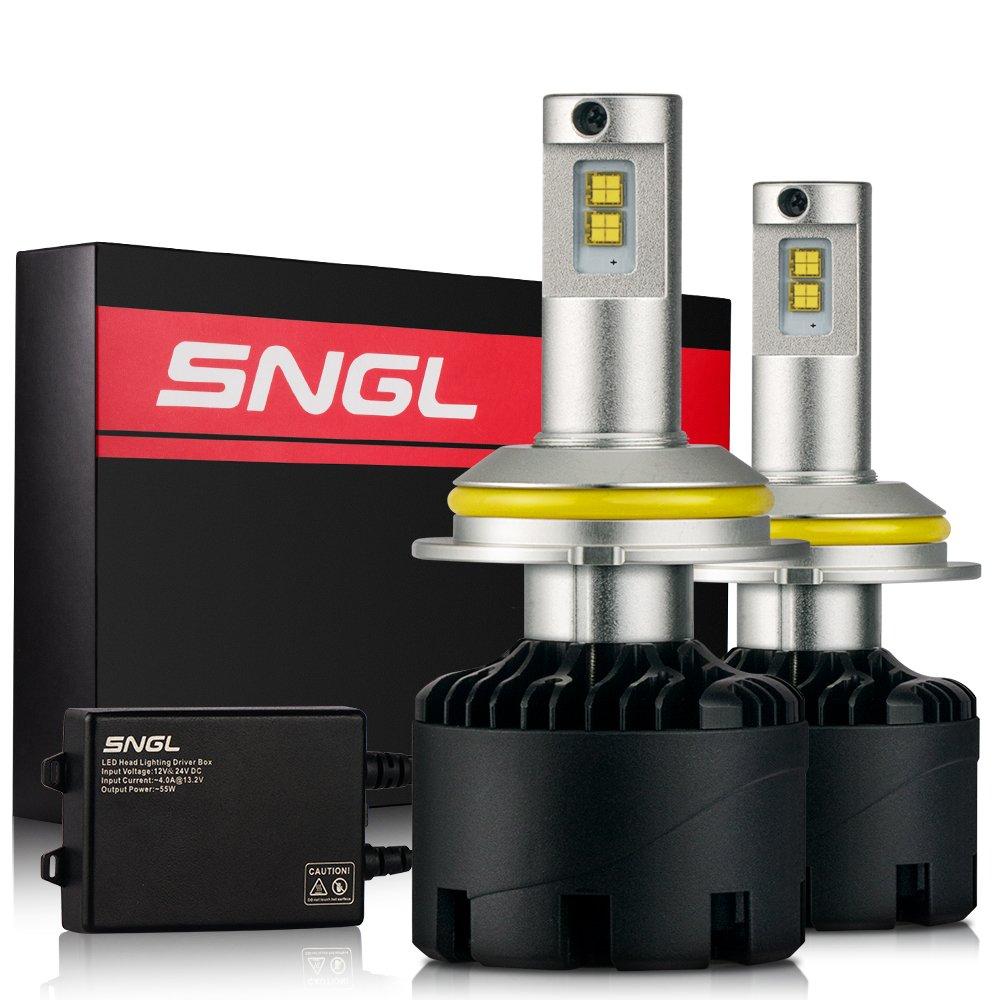 SNGL Super Bright LED Headlight Conversion Kit - Adjustable-Beam Bulbs - 9004 ( HB1 ) High/Low Beam - 110w 12,400Lm - 6000K Bright White - 2 Yr Warranty - For Dodge Ram Jeep Chrysler GMC Silverado
