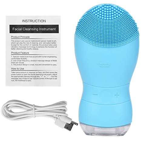 CkeyiN Waterproof Electric Silicone Facial Cleaning Brush Sonic Vibration  Face Cleaner Massager