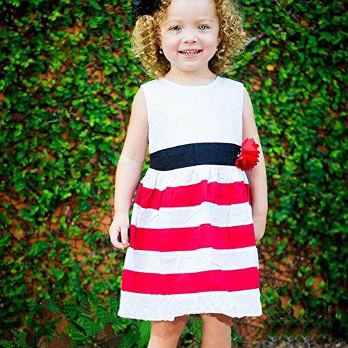 Weixinbuy Kid Girl Wide Stripe Sleeveless Flower High Waist Beach Dress 4-5T