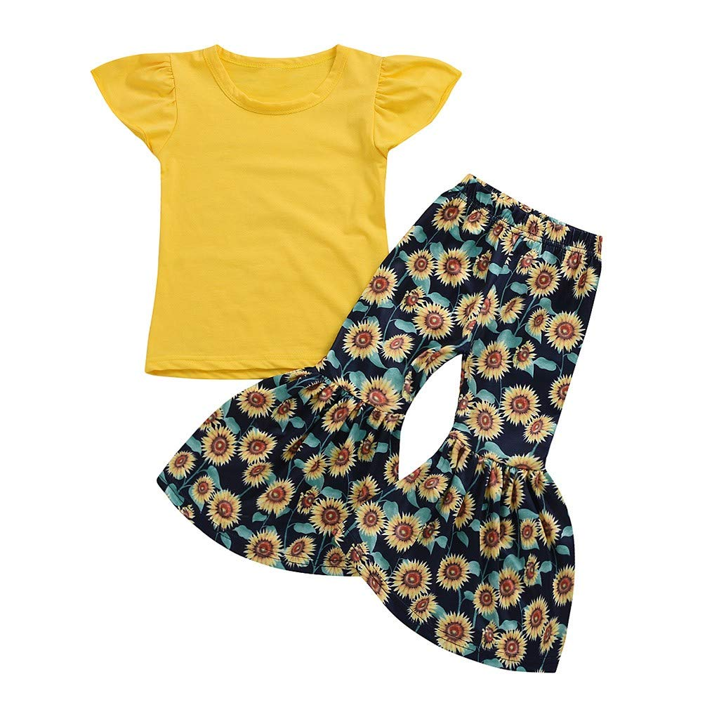 Waymine Kids Baby Girls Fly Sleeve Solid T-Shirt Tops+Sunflower Printed Flared Pants Set