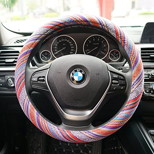 LSAUTO Universal 15inch Sweat Absorption Steering Wheel Cover with Coarse Flax Cloth SWC0