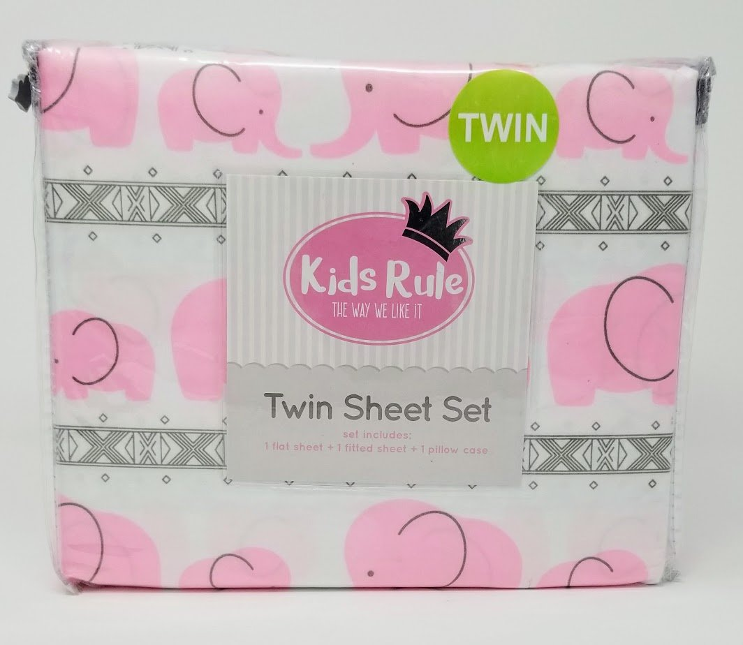 Amazon.com: Kids Rule 3pc Twin Sheet Set - Baby and Adult Elephant in Pink: Home & Kitchen