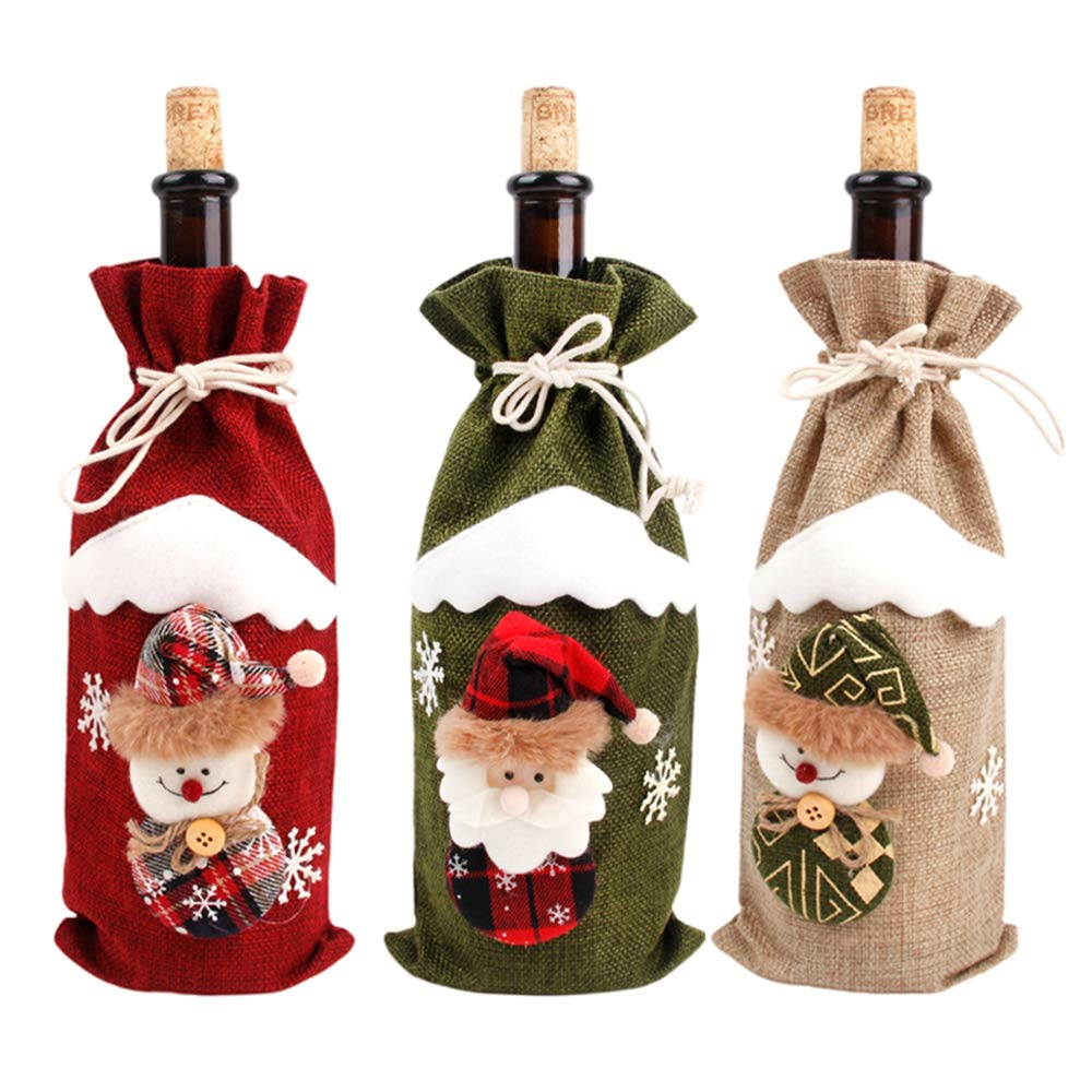 3PCS Christmas Wine Bottle Cover Bags Xmas Santa Claus Snowman ELK Pattern Bottle Gift Wrap Party Festival Decors Holders (Red 3pcs) kitchenLS666