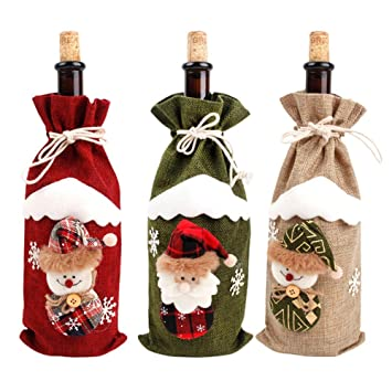 Navidad botella de vino cubierta de bolsas bolsas de navidad de santa claus muñeco de nieve patrón ELK botella de envoltura de regalo Festival ...