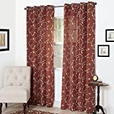 Semi Sheer Grommet Style Curtains - Floral Embroidered Pattern Window Curtain Panel for Living Room Bedroom, 95 x 54 Inch by Lavish Home (Rust)