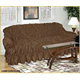 3 Seater CHOCOLATE Jacquard Sofa Cover - Universal Elastic Fitting (better than a throw) NAKUK