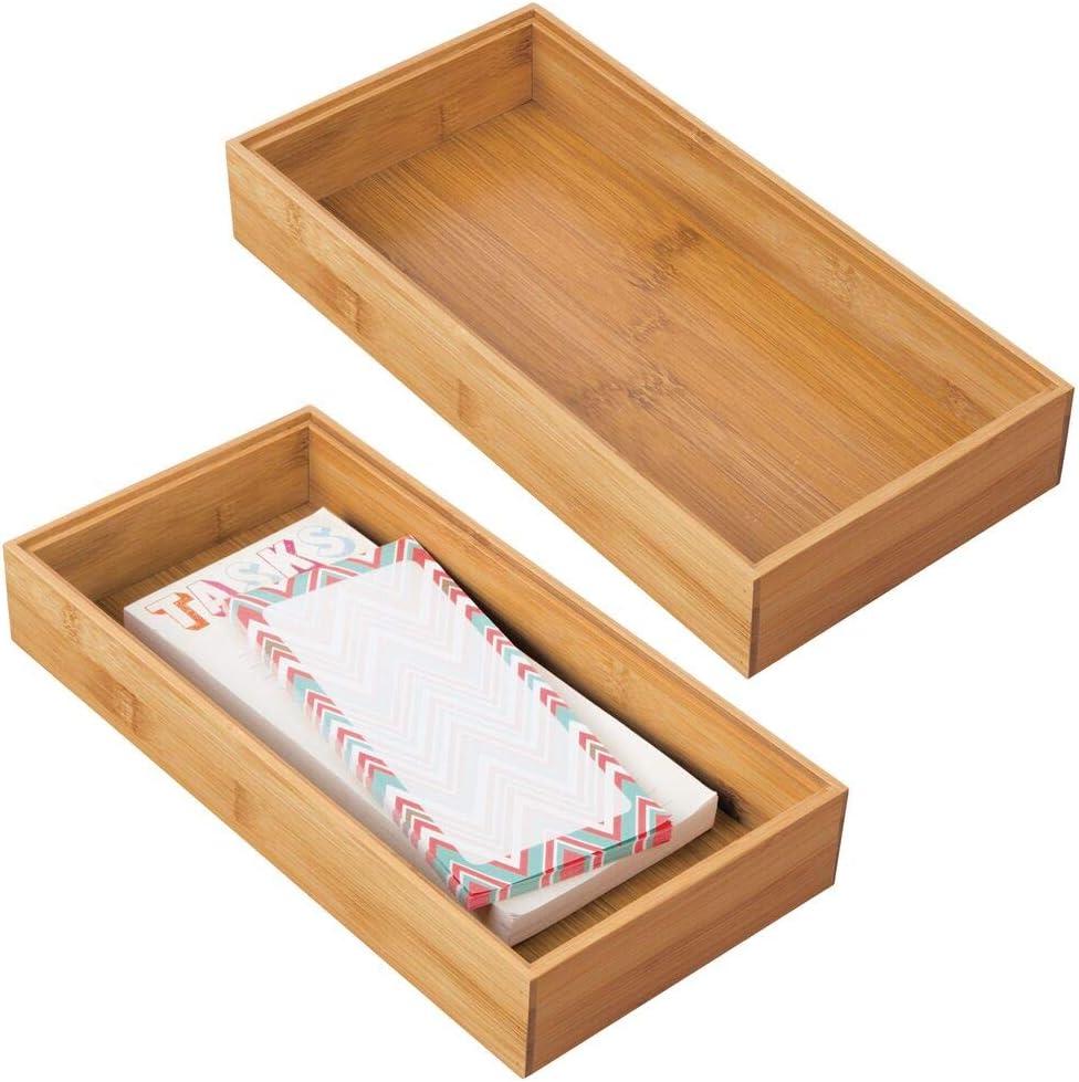 mDesign Juego de 2 Cajas organizadoras para Oficina y baño – Caja ...