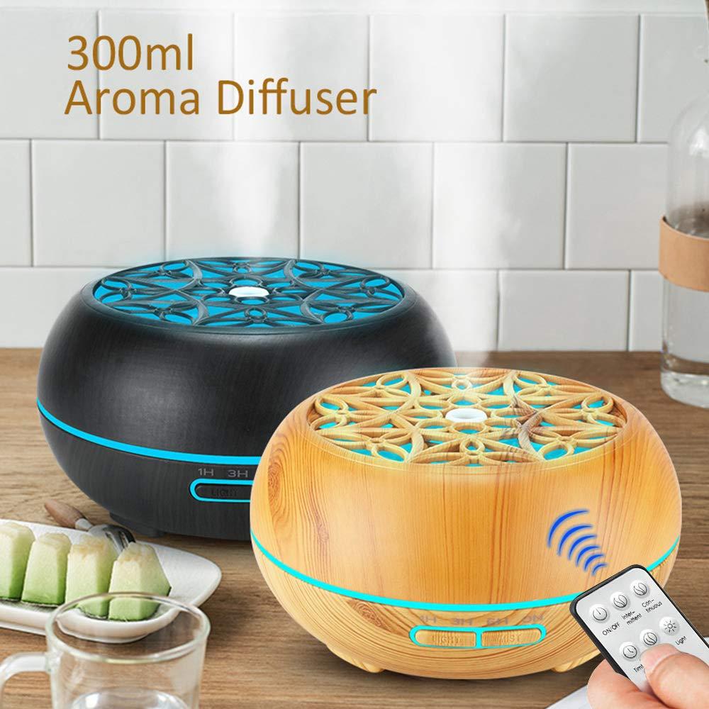 DEPNEE 300ml Umidificatore ad ultrasuoni con telecomando per olio essenziale di diffusore di aromi di olio essenziale Venatura del legno chiaro