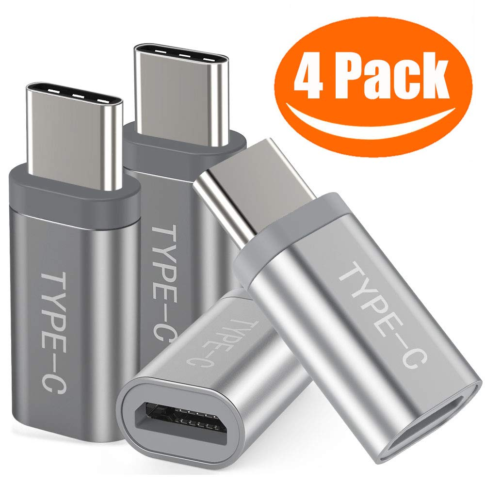Snowkids USB C Adapter, (4-Pack) Aluminum USB C to Micro USB Convert Connector Fast Charging Compatible with Samsung Galaxy S10 S9 S8 Plus Note 10 9 8,Moto Z Z3,LG V50 G8,Nintendo Switch(Grey/Sliver)