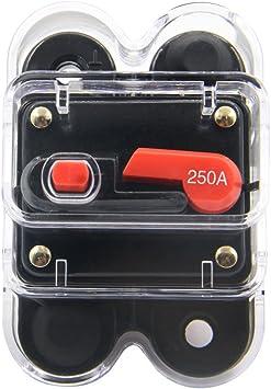 Motor Fuse Holders Inverter Circuit Breaker Car Audio Solar Energy Inline Circuit Breaker Fuse Inverter With Waterproof Cover For Motor Auto Car Marine Boat 250A