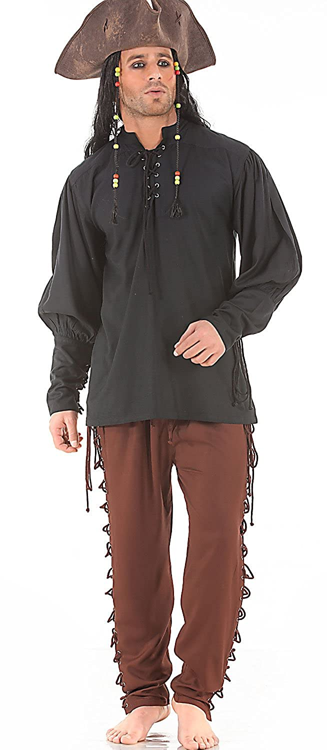 Men's Renaissance Brown Lace-Up Leg Pirate Pants