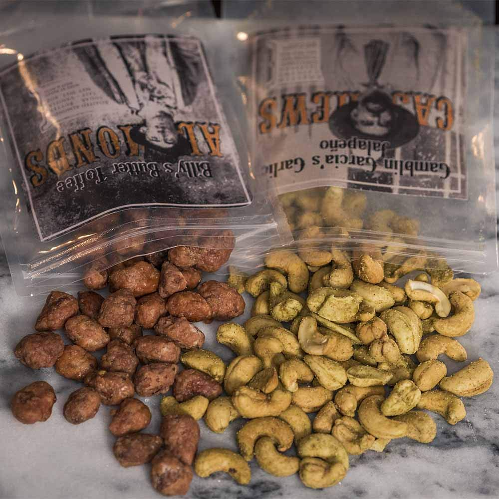 Man Crates Saloon Nuts Mini Crate - Flavorful Food Gift For Men - Includes Butter Toffee Almonds, Jalapeño Garlic Cashews and More - Ships In A Sealed Wooden Crate With A Laser-Etched Crowbar by Man Crates (Image #1)