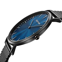 Watches Men Thin Minimalist Black Mesh Stainless Steel Waterproof Men's Quartz Wrist Watch