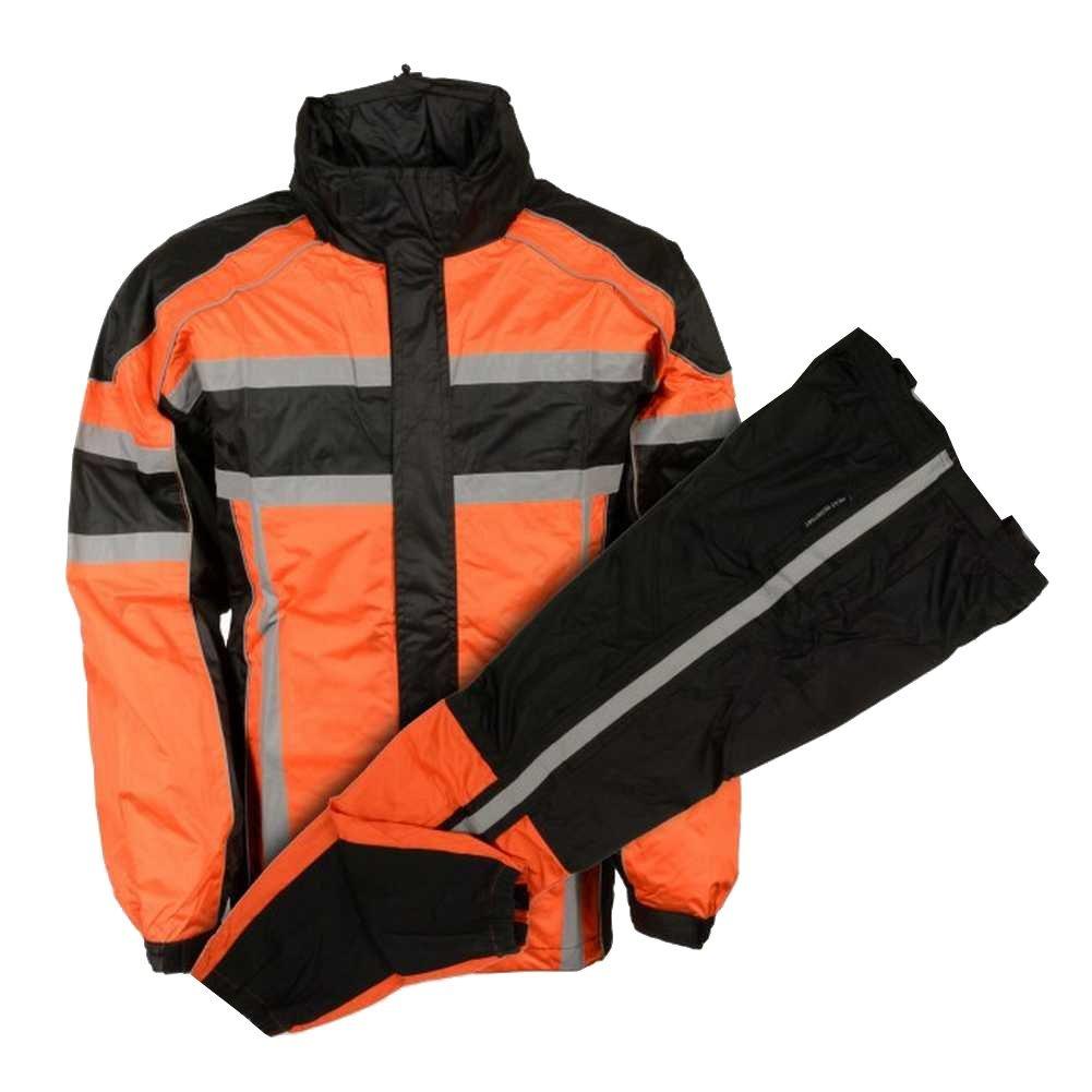 Nex Gen Men's Orange/Blk/Grey Motorcycle Rain Suit Water Resistant SH233102 (S)