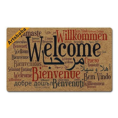 Artsbaba Doormat Welcome in Many Language Door Mat Rubber Non-Slip Entrance Rug Floor Door Mat Funny Home Decor Indoor Mats 30 x 18 Inches (Entrance Carpet)