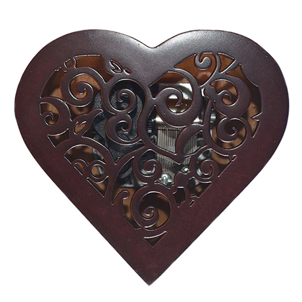 Antique Engraved Wooden Wind-Up Musical Box,You Are My Sunshine Musical Box,with Silver-plating Movement in,Heart-shaped by FnLy (Image #4)