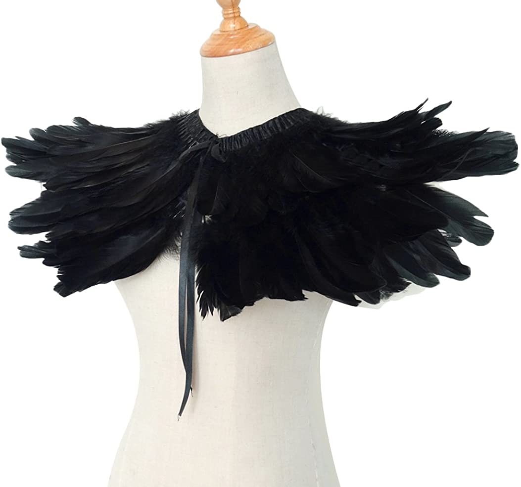 L'VOW Men' Gothic Natural Feather Shrug Shawl Cape Stole Collar Halloween Costumes (Black-05): Clothing