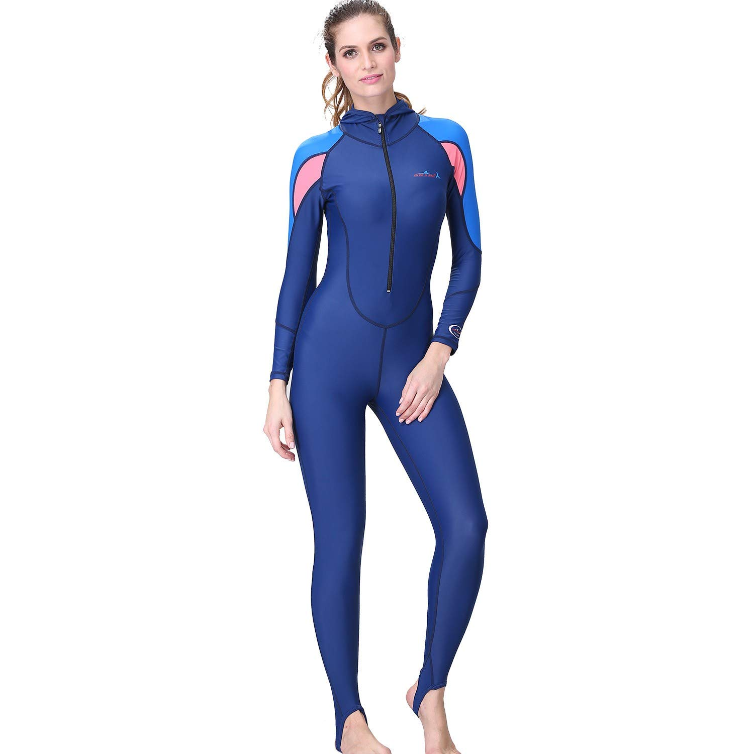 MILIMIEYIK with Hooded Wetsuit Women, Womens Wetsuit Long Sleeve Full Suit Premium Neoprene Womens Suit Snorkeling Scuba Blue