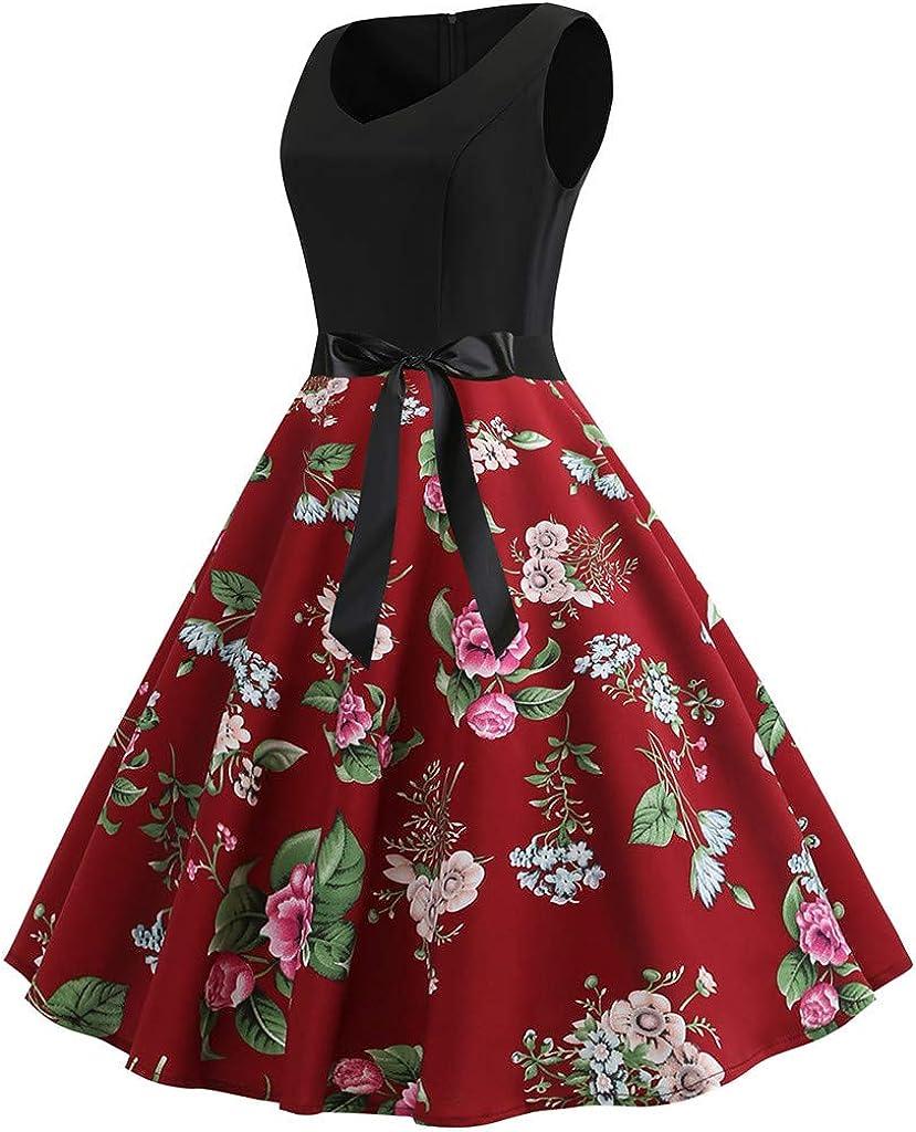 RDTIAN Womens Dresses Vintage 1950s Retro Sleeveless V-Neck Evening Party Prom Swing