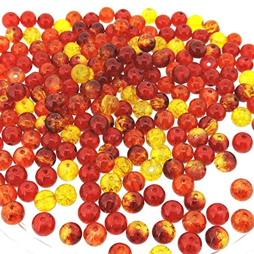 Orange Crackle - Beads Direct USA's Mix Crackle Glass Round Beads 6mm