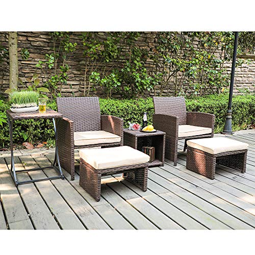 OC Orange-Casual Patio 6 Piece Wicker Furniture Set, Rattan Chair, with Cushioned Ottoman, Resin Nesting Table, Modern Design, Brown