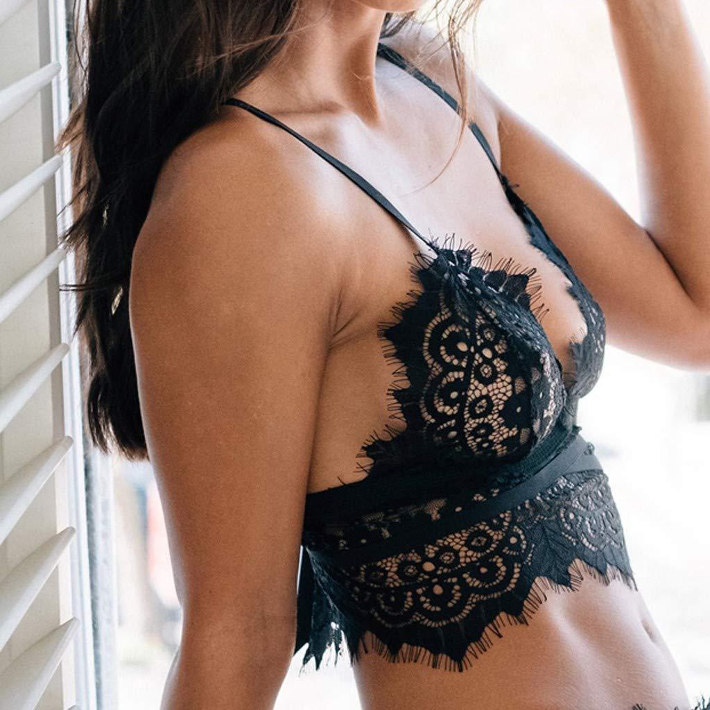 Simayixx Blouses for Women Womens Lingerie Sexy Bra Lace Babydoll Outfits Plus Size Eyelash Crop Top Sleepwear Underwear Black by Simayixx (Image #2)