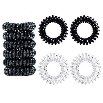 Kunststoff-Spirale ,Telefonkabel 4er Set elastisch Haargummi braun
