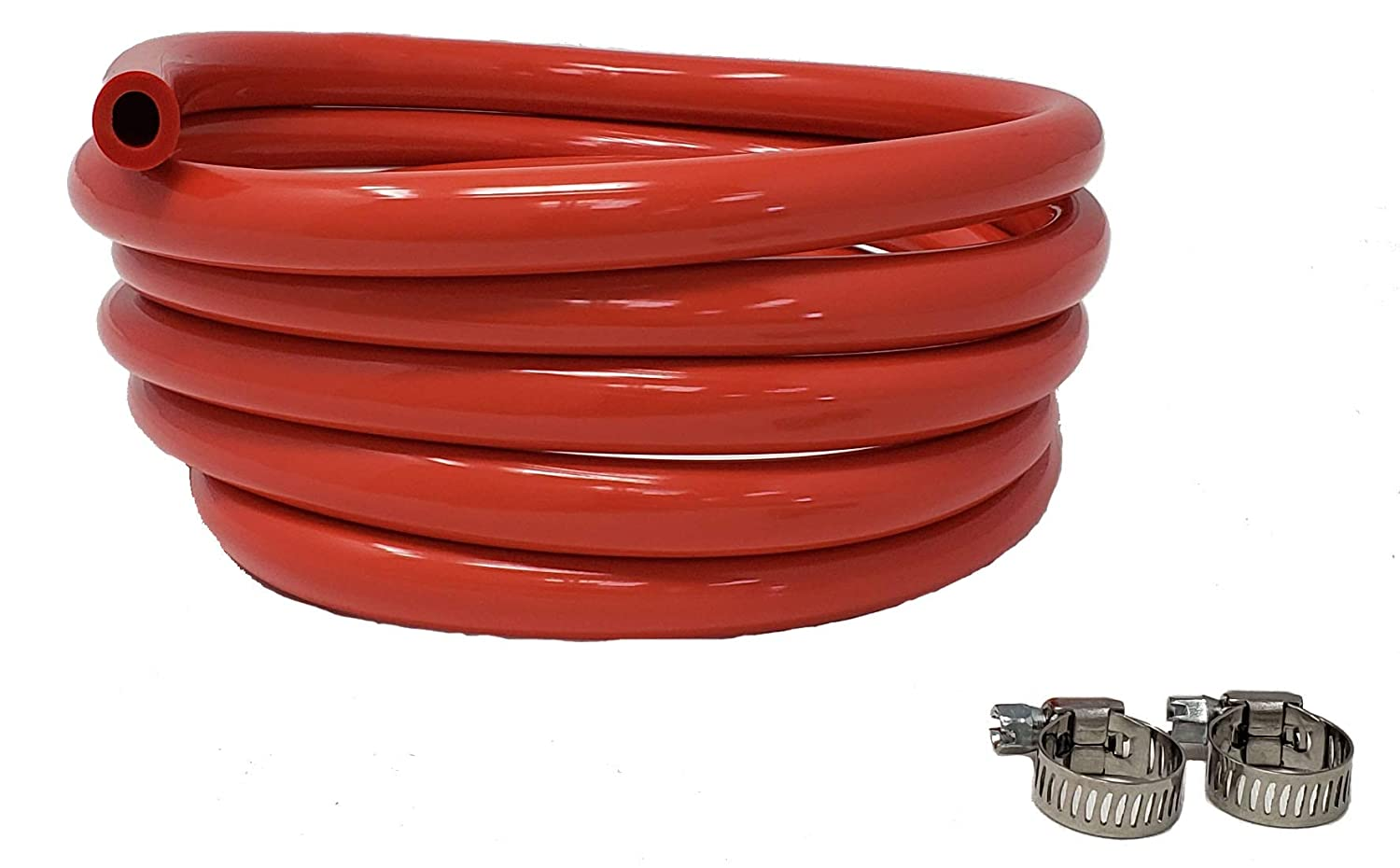 "Sealproof Red 5/16-Inch ID, 9/16-Inch OD Tubing, 10 FT, CO² Gas Line with 2 Worm Gear Hose Clamps, for Homebrewing, Kegerator, Draft Systems, Beer Air Hose, 1/4"" Wall Thickness - Made in USA"