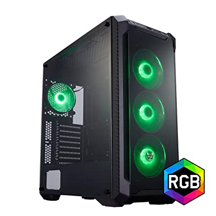 FSP E-ATX Mid Tower PC Gaming Case with 2 Translucent Tempered Glass  Panels, 4 RGB Fans, and Asus Aura Sync Support(CMT520)